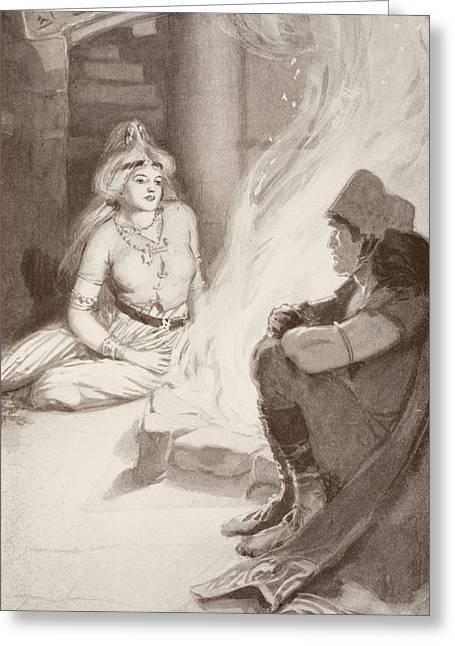 Talking Greeting Cards - Cian Finds Balors Daughter Greeting Card by Harold Robert Millar