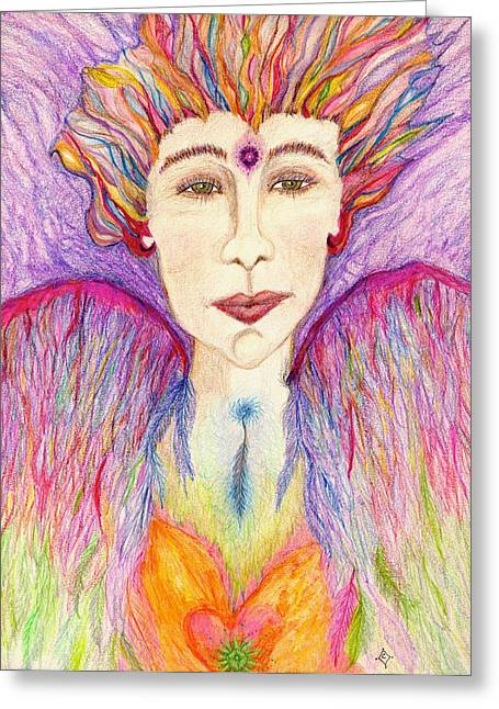 Cianna - The Angel Of Creative Power Greeting Card by Lily Diamond