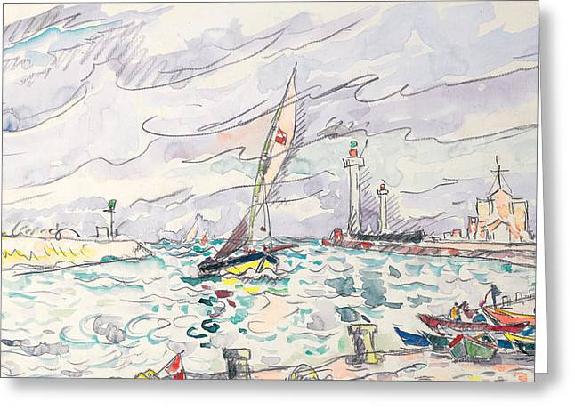 Sailboats Drawings Greeting Cards - Ciboure Greeting Card by Paul Signac