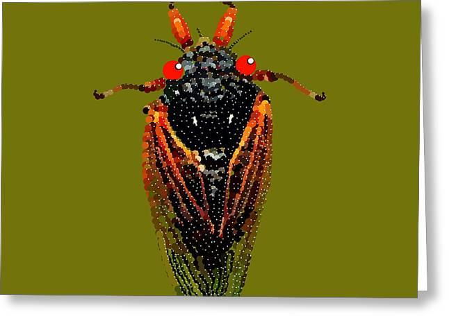 R Allen Swezey Greeting Cards - Cicada in Green Greeting Card by R  Allen Swezey