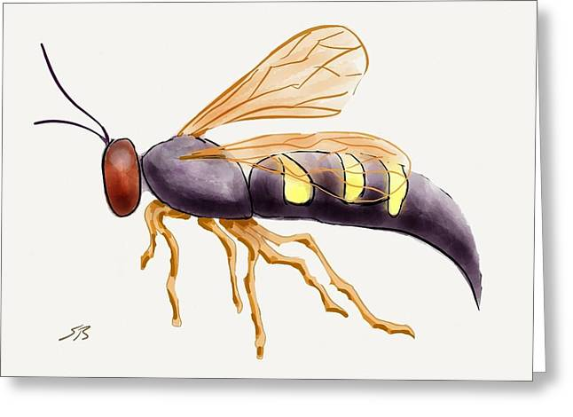 Stacy Bottoms Greeting Cards - Cicada Killer Wasp Greeting Card by Stacy C Bottoms