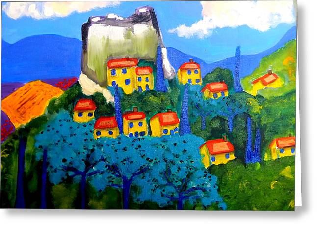 Provence Village Greeting Cards - Ciel Bleu Greeting Card by Rusty Woodward Gladdish