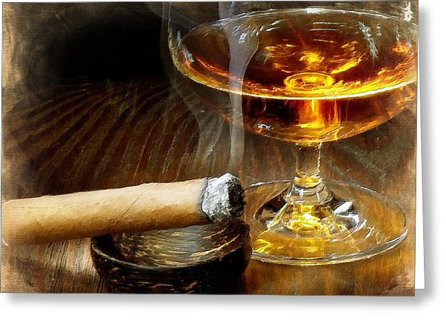 Brandy Cigar Art Greeting Cards - Cigar And Cordial Painting Greeting Card by Tony Rubino