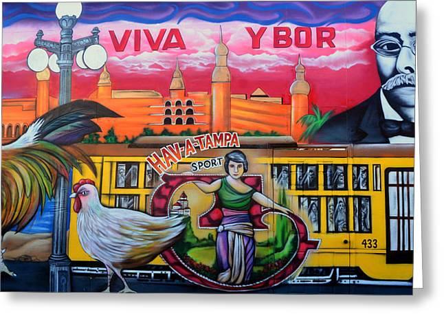 Ybor City Greeting Cards - Cigar City Street Mural Greeting Card by David Lee Thompson