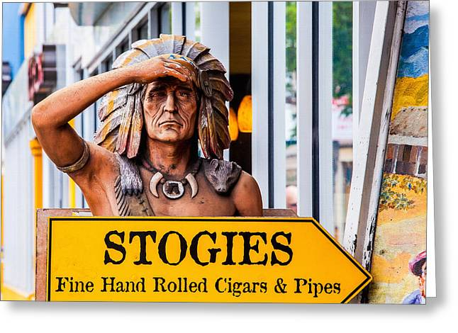 California Art Greeting Cards - Cigar Indian Greeting Card by Art Block Collections