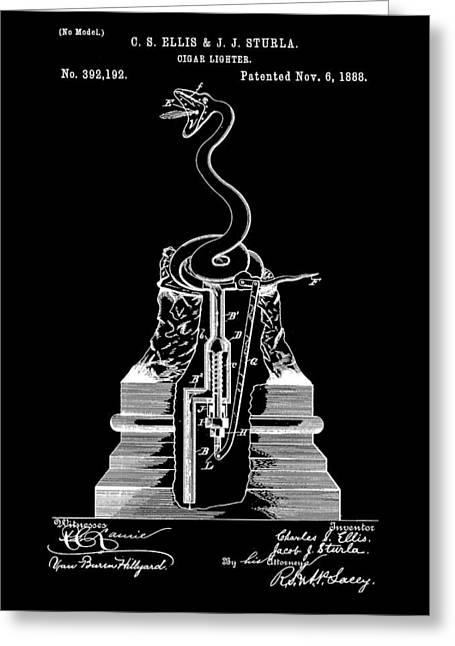 Cigar Lighter Patent 1888 - Black Greeting Card by Stephen Younts