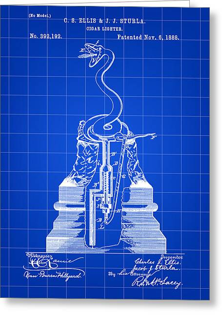 Cigar Lighter Patent 1888 - Blue Greeting Card by Stephen Younts