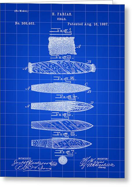 Cigar Patent 1887 - Blue Greeting Card by Stephen Younts