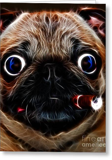 Guard Dog Greeting Cards - Cigar Puffing Pug - Electric Art Greeting Card by Wingsdomain Art and Photography