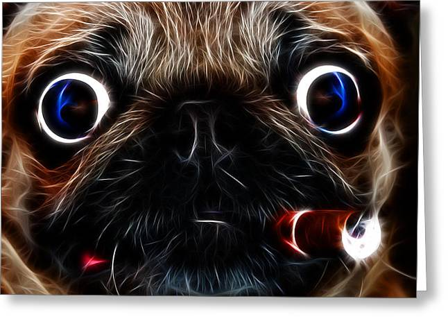 Cigar Puffing Pug - Electric Art Greeting Card by Wingsdomain Art and Photography