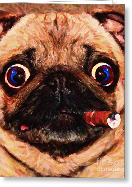 Chinese Dogs Greeting Cards - Cigar Puffing Pug - Painterly Greeting Card by Wingsdomain Art and Photography