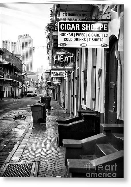 Rue Bourbon Greeting Cards - Cigar Shoppe Greeting Card by John Rizzuto
