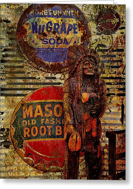 Bottle Cap Greeting Cards - Cigar Store Indian guards the rootbeer Greeting Card by Toni Hopper