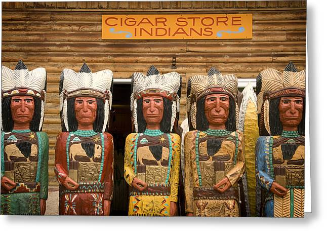 Jackson Pyrography Greeting Cards - Cigar Store Indians Greeting Card by Mountain Dreams