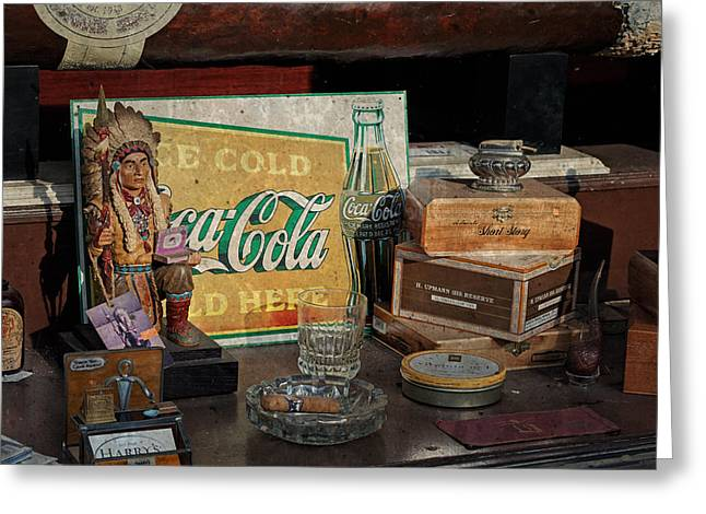 Levi Store Greeting Cards - Cigar Store Window Greeting Card by Michael Porchik