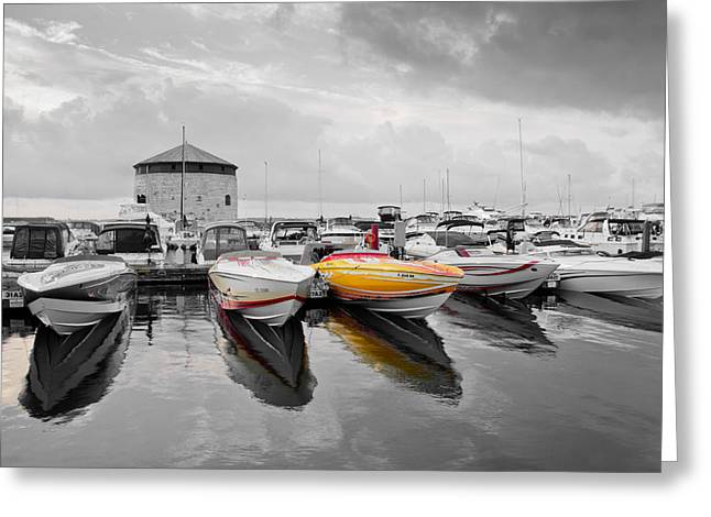 Poker Run Boat Greeting Cards - Cigarette Boats Greeting Card by Michel Soucy