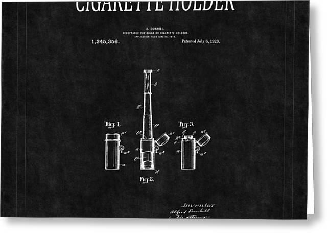 Tobacconist Greeting Cards - Cigarette Holder Patent 2 Greeting Card by Andrew Fare