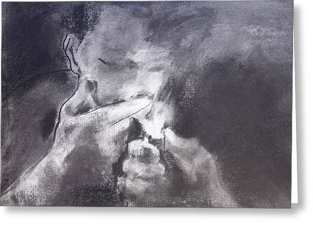 Cigar Greeting Cards - Cigarette Two Greeting Card by Janet Goddard