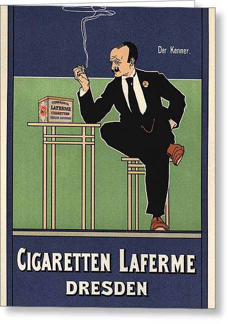 Belle Epoque Greeting Cards - Cigaretten Laferme Dresden Greeting Card by Gianfranco Weiss
