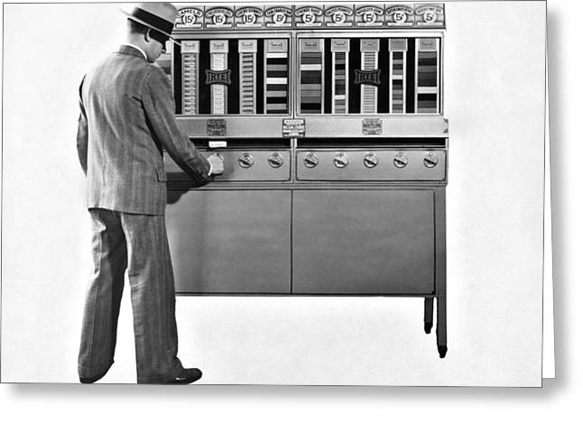 Vending Machine Photographs Greeting Cards - Cigarettes Vending Machine Greeting Card by Underwood Archives
