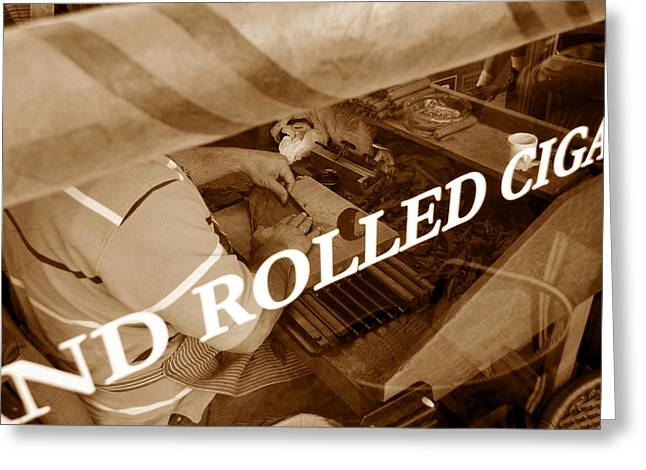 Historic Florida Greeting Cards - Cigars the old fashion way Greeting Card by David Lee Thompson