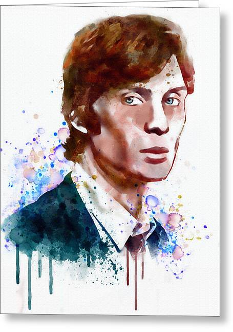 Murphy Greeting Cards - Cillian Murphy watercolor Greeting Card by Marian Voicu