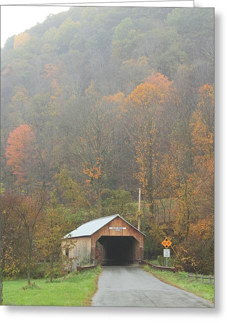 Covered Bridge Greeting Cards - Cilly Covered Bridge Tunbridge Vermont Late Autumn Greeting Card by John Burk