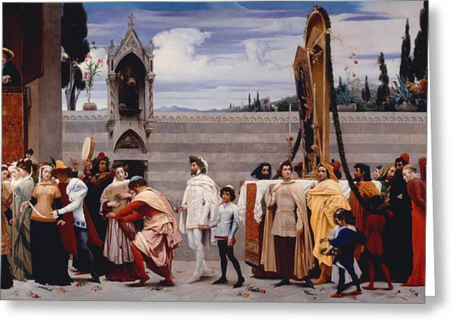 Carry Paintings Greeting Cards - Cimabues Celebrated Madonna is carried in Procession through the Streets of Florence Greeting Card by Frederic Leighton
