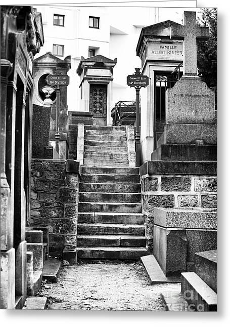Cemeteries Of Paris Greeting Cards - Cimetiere de Montmartre Greeting Card by John Rizzuto