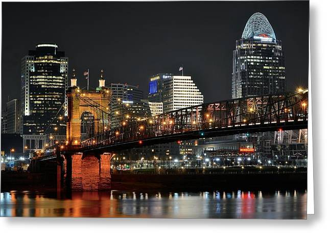 Football National Champions Greeting Cards - Cincinnati Across the Ohio River Greeting Card by Frozen in Time Fine Art Photography