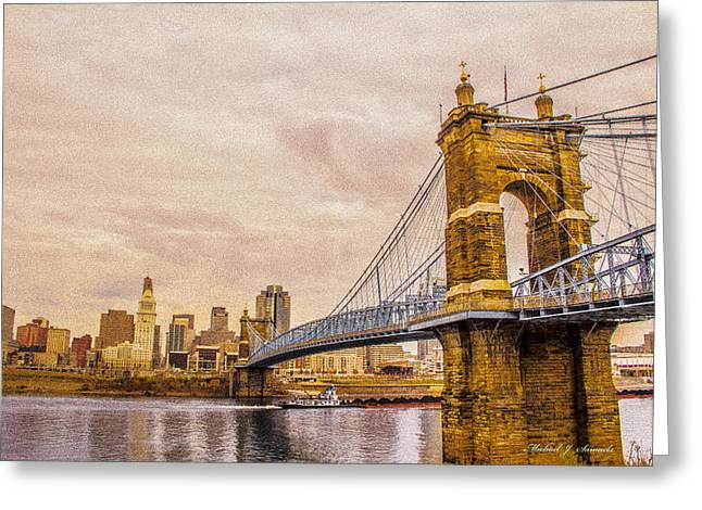 Barges Greeting Cards Greeting Cards - Cincinnati Across the River Greeting Card by Michael J Samuels