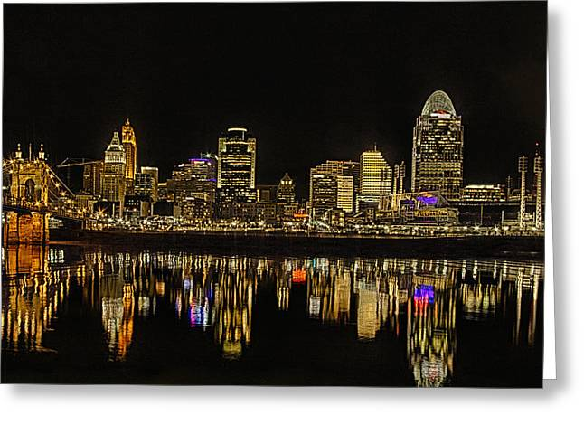 Barges Greeting Cards Greeting Cards - Cincinnati After Dark Greeting Card by Michael J Samuels