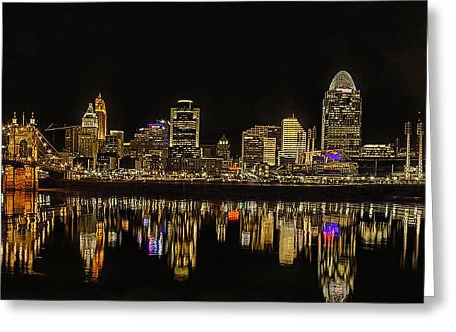 Barges Greeting Cards Greeting Cards - Cincinnati After Dark Greeting Card by Michael J Samuels