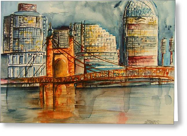 Cincinnati At Dusk Greeting Card by Elaine Duras