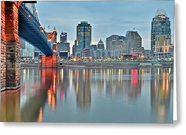 Baseball Stadiums Greeting Cards - Cincinnati at Dusk Greeting Card by Frozen in Time Fine Art Photography