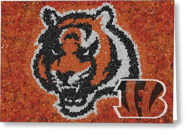 Division Greeting Cards - Cincinnati Bengals Mosaic Greeting Card by Jack Zulli