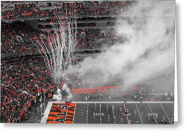 Goal Line Greeting Cards - Cincinnati Bengals Playoff Bound Greeting Card by Dan Sproul