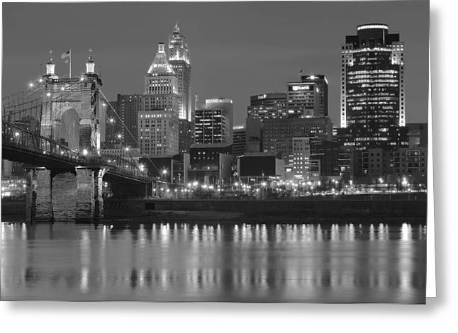 Ohio. Oh Greeting Cards - Cincinnati Black and White Night Greeting Card by Frozen in Time Fine Art Photography