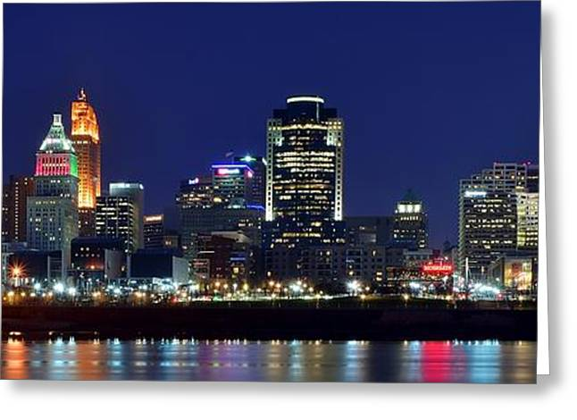 Metropolitan Area Greeting Cards - Cincinnati Blue Hour Panorama Greeting Card by Frozen in Time Fine Art Photography