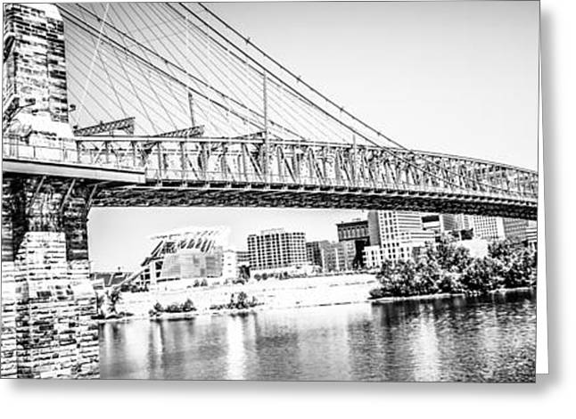 Riverfront Greeting Cards - Cincinnati Bridge Retro Panorama Photo Greeting Card by Paul Velgos