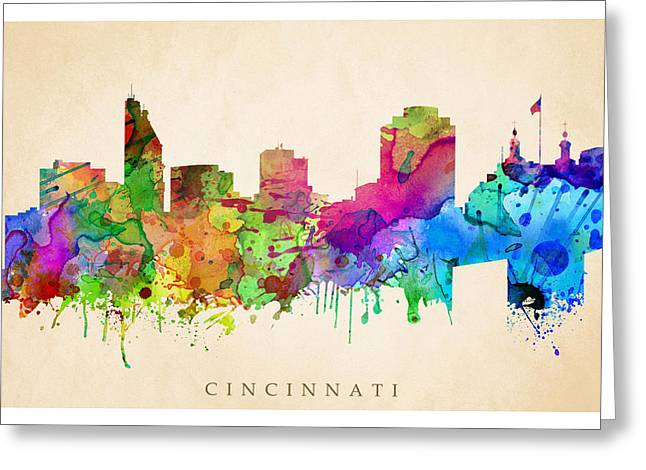 Steve Will Greeting Cards - Cincinnati Cityscape Greeting Card by Steve Will