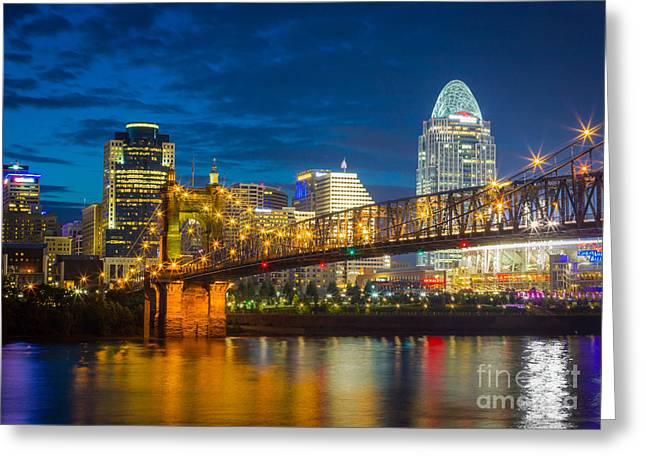 Reflective Greeting Cards - Cincinnati Downtown Greeting Card by Inge Johnsson