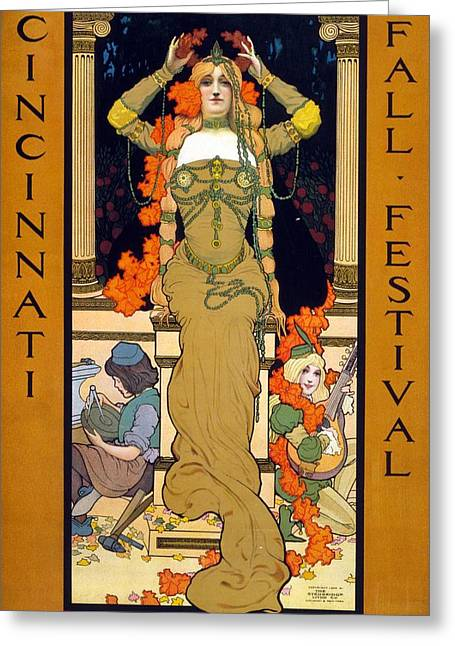 Cincinnati Fall Festival September 7 To 19 1903 Poster For The Festival Showing A Woman Seated  Greeting Card by Hugo Grenville