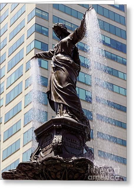 Fountain Figure Greeting Cards - Cincinnati Fountain Genius of Water by Tyler Davidson  Greeting Card by Paul Velgos