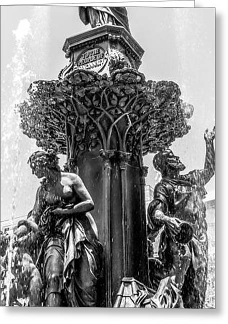 Fountain Figure Greeting Cards - Cincinnati Fountain Vertical Panorama Picture Greeting Card by Paul Velgos