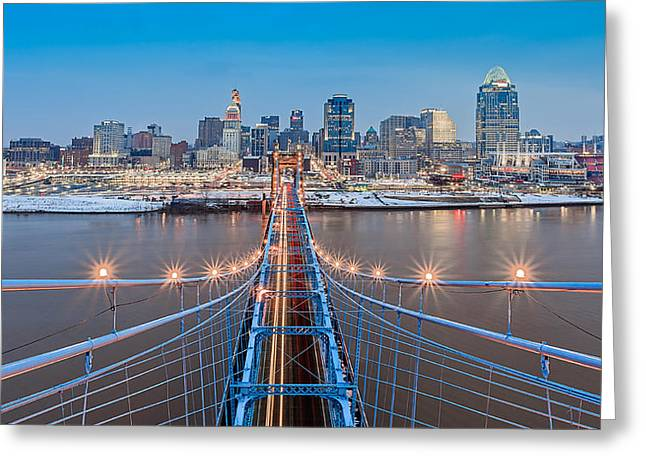 On Top Greeting Cards - Cincinnati from on top of the bridge Greeting Card by Keith Allen