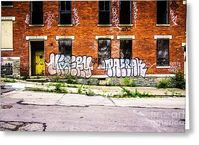 Glencoe Greeting Cards - Cincinnati Glencoe Auburn Place Graffiti Photo Greeting Card by Paul Velgos