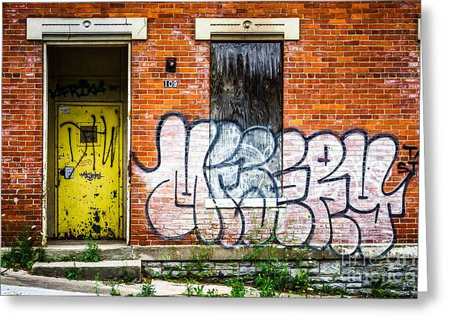 Dilapidated Greeting Cards - Cincinnati Glencoe Auburn Place Graffiti Picture Greeting Card by Paul Velgos