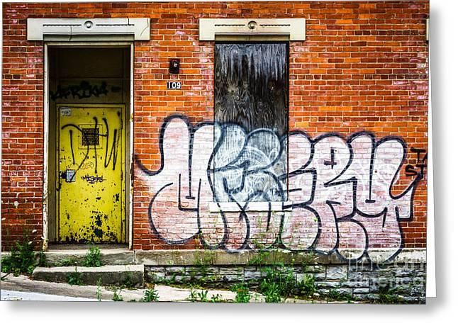 Auburn Greeting Cards - Cincinnati Glencoe Auburn Place Graffiti Picture Greeting Card by Paul Velgos
