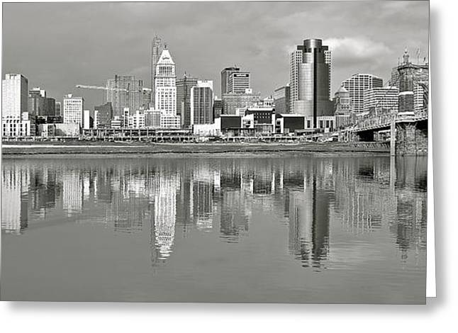 Ohio. Oh Greeting Cards - Cincinnati Grayscale Panorama Greeting Card by Frozen in Time Fine Art Photography